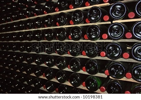 Wine cellar is immersed in darkness for better fermentation of sparkling wine.