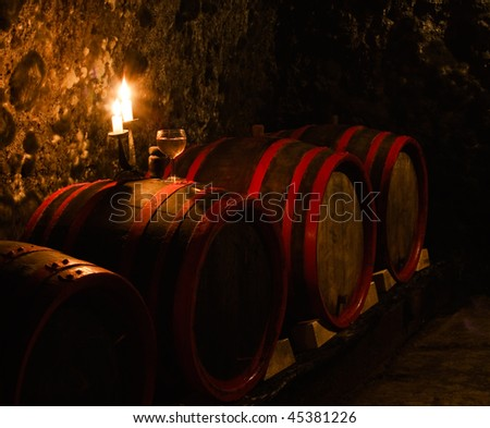 wine-cellar series 15. dark wine-cellar with candle light