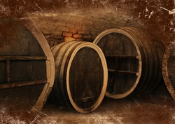 Wine cellar with a large oak wine barrels in vintage style