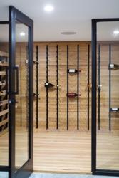 wine cellar with wine bottles
