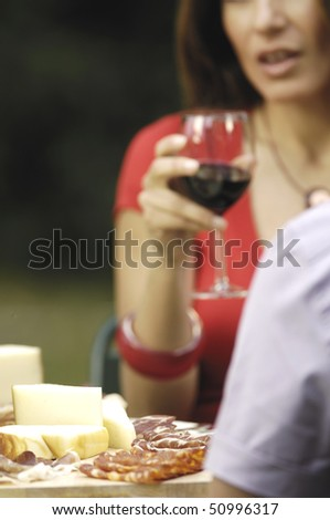 wine, cheese, salami and woman