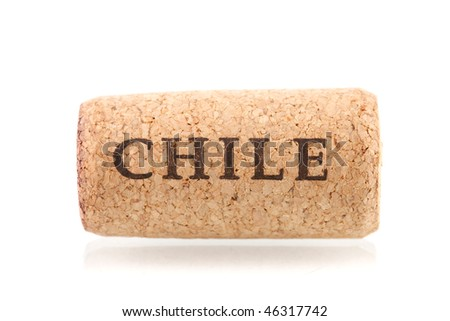 Wine collection - Chile wine cork. Isolated on white background