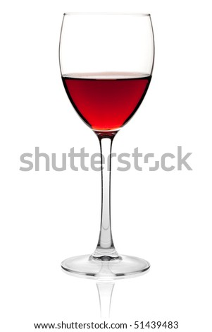Wine collection - Red wine in a glass. Isolated on white background