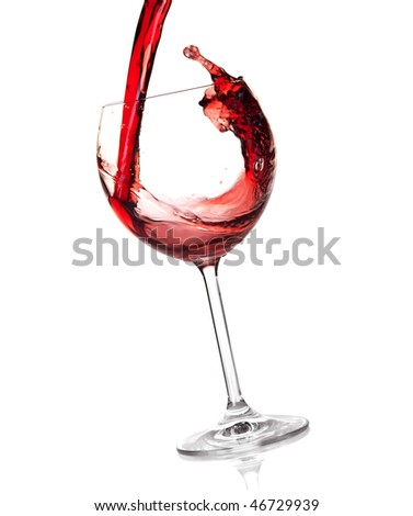 Wine collection - Red wine is poured into a glass. Isolated on white background