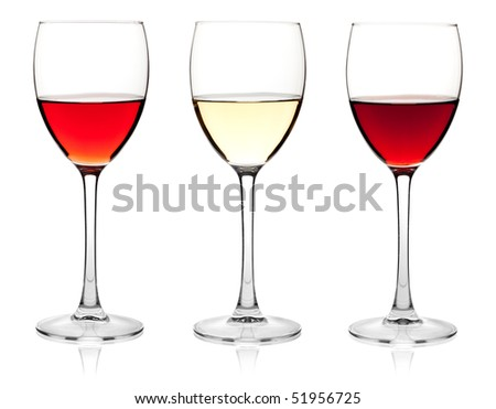 Wine collection - Rose, White and Red wine. Isolated on white background