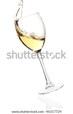 Wine collection - Splashing white wine in a falling glass. Isolated on white background