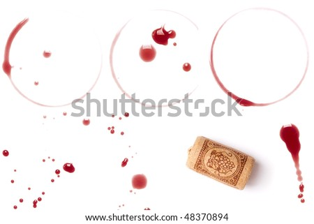 Wine collection - stains, spots and cork. On white background