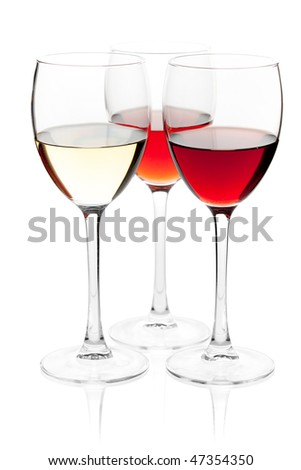 Wine collection - White, Rose and Red wine. Isolated on white background