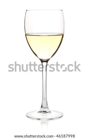 Wine collection - White wine in glass. Isolated on white background