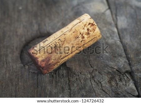 wine cork of a vintage red wine of the famous season 1961