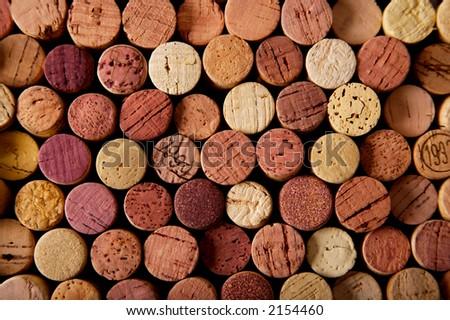 wine cork tops - stock photo