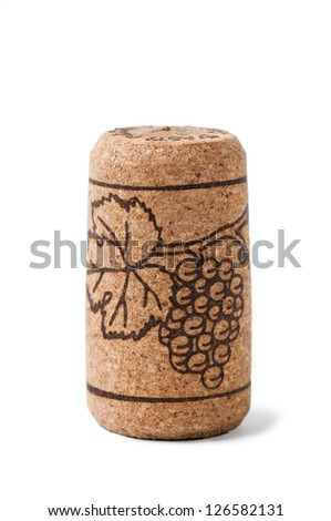 Wine cork with grape. Isolated on white