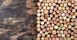 Wine corks background. Copy space Background for text