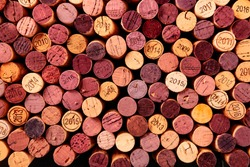 Wine corks background, shot from the top