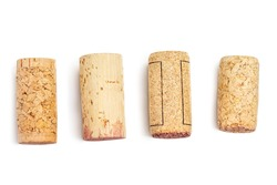 Wine corks Isolated on white background. Close up.  Corks in a row
