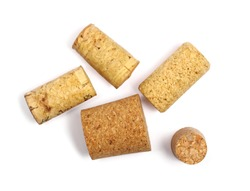 Wine corks isolated on white background, top view