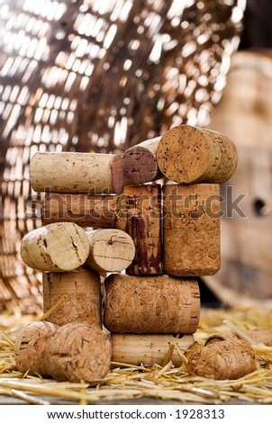 wine corks on the straw
