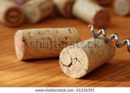 Wine corks with corkscrew on wooden table in warm natural lighting.  Macro with extremely shallow dof.