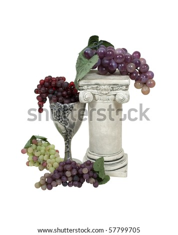 Wine country shown by a sturdy column with a variety of grapes and a wine chalice - path included