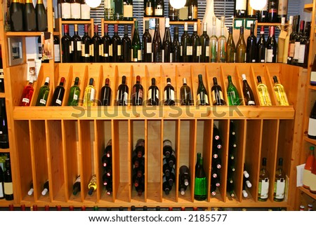 wine display in a wine store