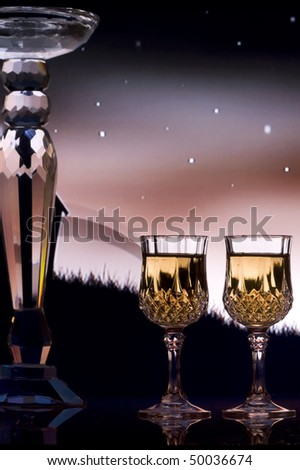 Wine for two with illustration background of house, grass, and stars