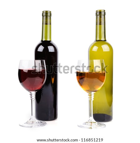 Wine glass and bottle of wine on white background