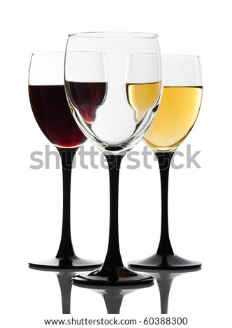 Wine glass and two glasses on a background