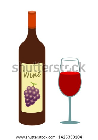 Wine glass and wine bottle.