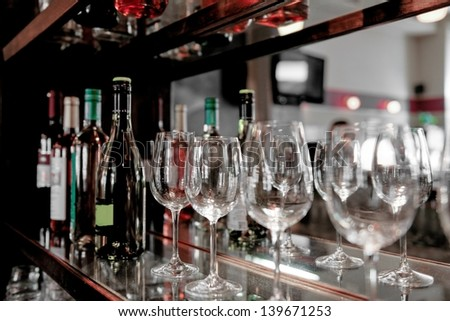 Wine glass at the bar