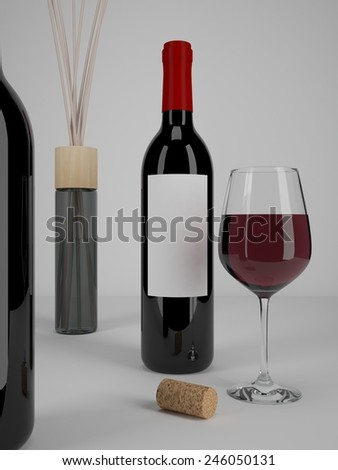 Wine Glass Bottles for Branding and Labeling. 3D realistic render