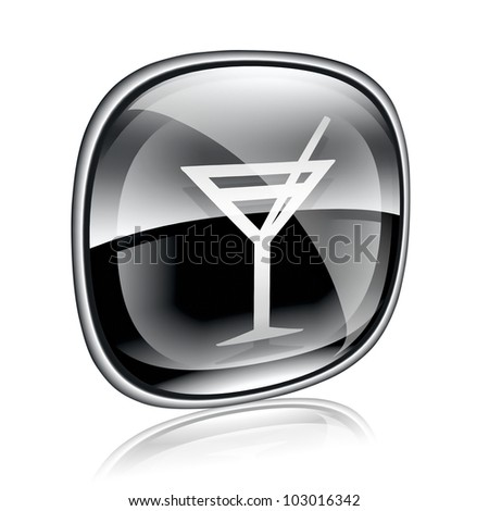 wine-glass icon black glass, isolated on white background.