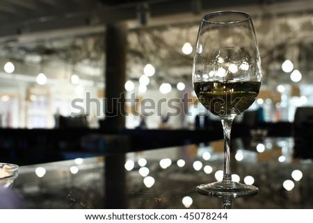 wine glass in a luxury bar
