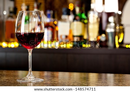 Wine Glass On The Background Of The Bar