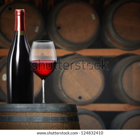 Wine glass on wine barrels