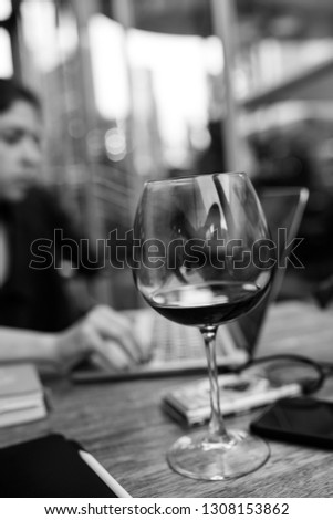 wine glass served on dining table with valentines day romantic #1308153862