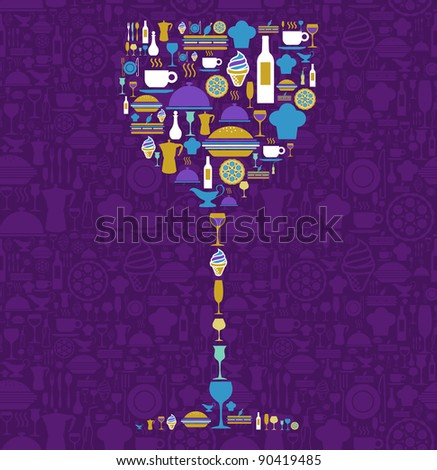 Wine glass shape made with food and beverage icon set over violet background.