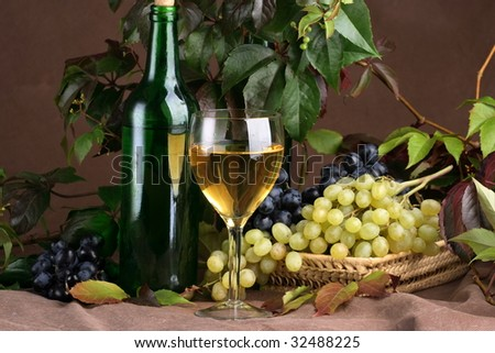 Wine glass with bottle for wine tasting