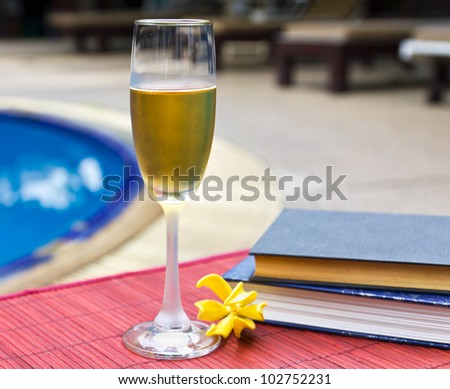 Wine glasses and book at the pool. Relaxing scene