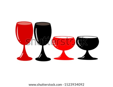 Wine glasses, black and red champagne, illustrations used as or clip-art celebrating celebrations or festivals.