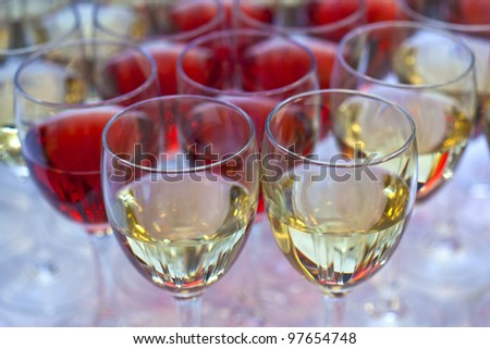 Wine glasses on a buffet