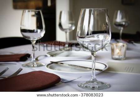 Table Appointments Hotel Service Table In A Restaurant With A - Wine glass table setting