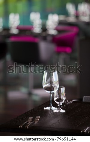 wine glasses on the table with water glasses set up for guest
