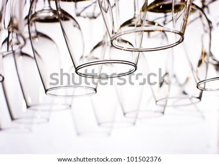 wine glasses on the white