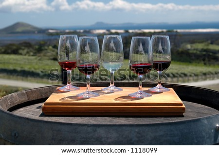 Wine glasses outside on tray