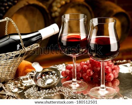 wine glasses set in winery tasting