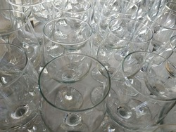Wine glasses. The glasses are empty. Top view, perspective. Tasting of alcoholic beverages, restaurant, bar, counter, table. White tablecloth. Background for wine and beverage store
