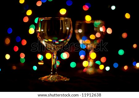 wine glasses with colored flares