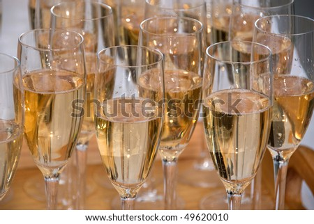 Wine glasses with sparkling wine