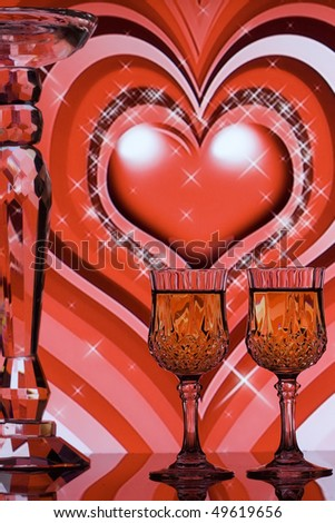 Wine glasses with stars and  red hearts background