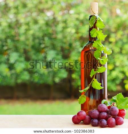 Wine, grape and vineyard on green foliage background